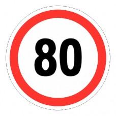 Наклейка «Знак ограничения скорости 80»